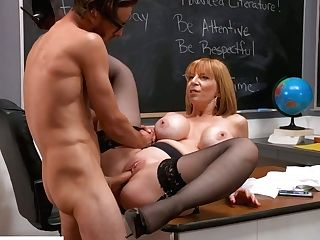 Purrfectly Shaped Big-boobed Schoolteacher Sara Jay Tempts One Of The Students