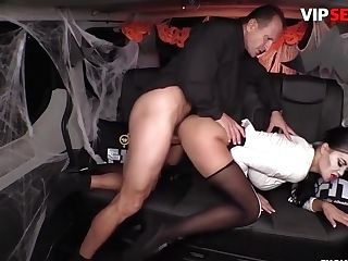 George Uhl And Jasmine Jae - Halloween Orgy On The Van With A Big-boobed Police Officer