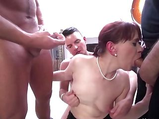 Vera Delight Likes To Suck Dick While At Work And To Get Gang-fucked Until She Cums