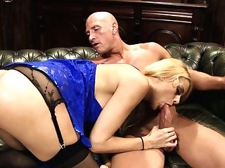 Bald Headed Man Is Totally Into Eating Raw Vag Of Charming Jeanie Loves