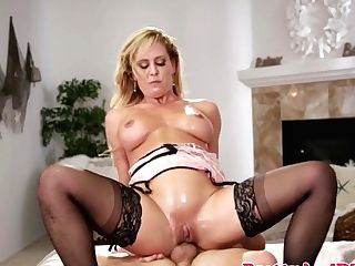 Doggystyled Huge-boobed Cougar Throats Youthfull Beef Whistle