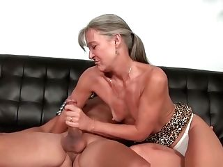 Highheeled Granny Jerking Dick Until Jizz Flow