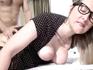 French Blonde With Glasses, Melany Is Fucking Her Horny Neighbor In The Middle Of The Day