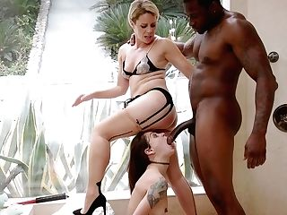 Big Black Man Fucks Two Milky Whores In All Their Crevasses