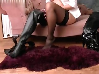 Perverted Honey In Leather Boots Nylon Undies Suspenders