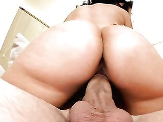 Dark Haired Hoochie Melissa Monet Gets Her Muff Pie Trained By Dudes Rock Solid Man Meat