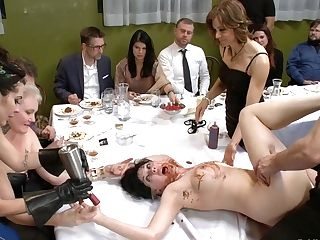 Nerine Mechanique Served Up And Fucked At A Dinner Soiree - Publicdisgrace