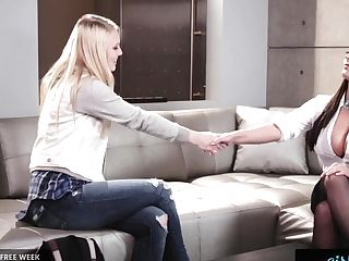 Girlsway Angela Milky Gives Fresh Model A Chance With Restrain Bondage