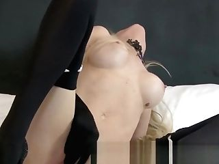 Sexy Blonde Cougar Masturbates With Gloved Thumbs