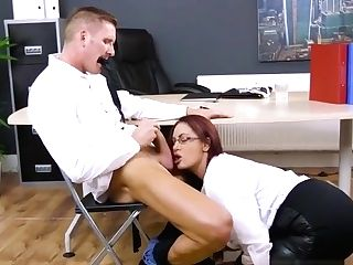 Big-chested Chief Emma Butt Blows Her Draped Assistant