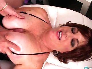 Big-titted Redheaded Granny Gobbles Spunk - 60plusmilfs