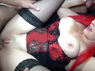 Crimson-haired Big-chested Cougar Gets Group-fucked By Big-dicked Weirdos