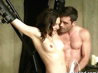 Suspended By The Wrists Shackled Dark-haired Lactates Gets Electrified And Vibed Hard