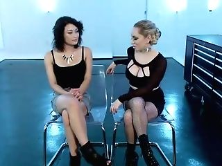 Electric Ash-blonde Mistress Penalizes Big-chested Fuck Toy With Wired Devices