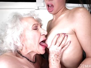 Old And Youthful Sapphic Love - Retired Granny And Youthful Black-haired Tiffany Doll